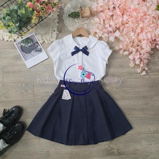 Chân váy học sinh kẻ kèm quần cotton bên trong size 7 -15-