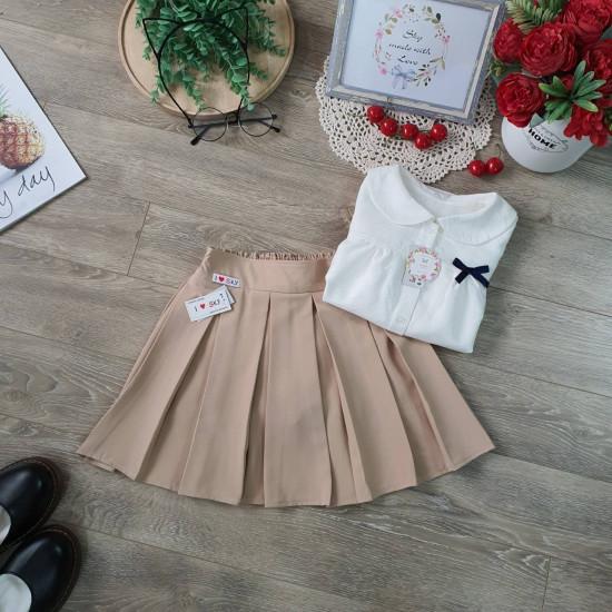 Chân váy học sinh xếp ly kèm quần cotton-