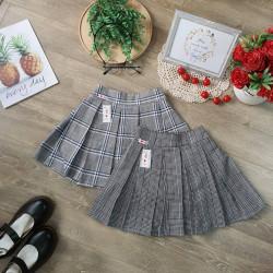 Chân váy kẻ xếp ly kèm quần cho học sinh tiểu học size 7 -15