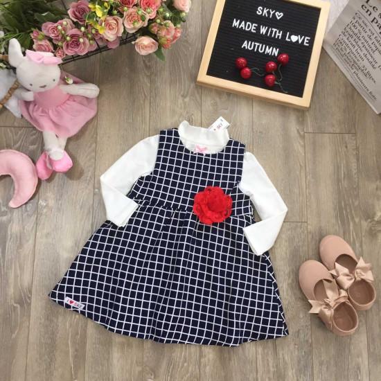 Váy kẻ 2 lớp-v101535-VÁY THU ĐÔNG BÉ GÁI