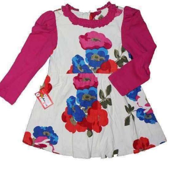 váy nhung hoa hồng-V7115-