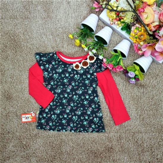 áo cotton hoa len nhí-A86235-VÁY THU ĐÔNG BÉ GÁI