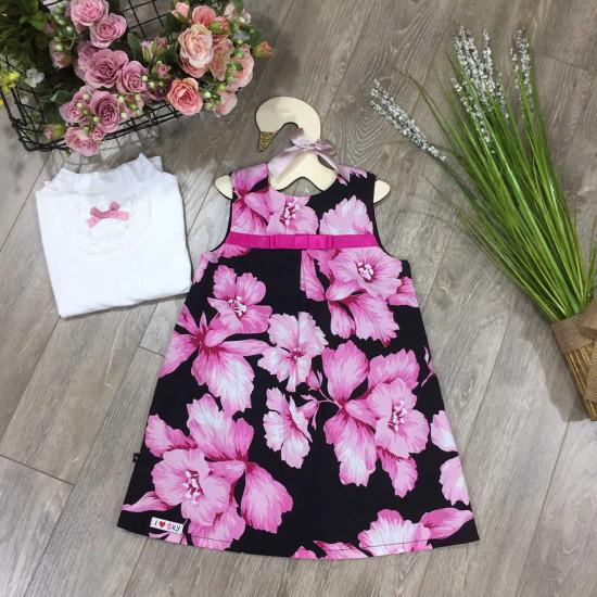 váy nhung hoa dáng A size 4-7