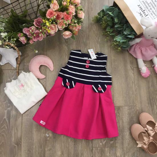váy A pha kẻ hồng-V8665