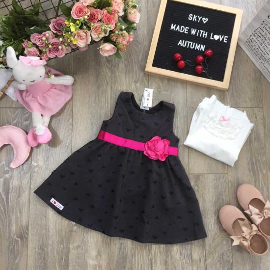 bán sỉ váy nỉ ghép hoa lụa-V96255 - đại lý phân phối hãng KIDSKY