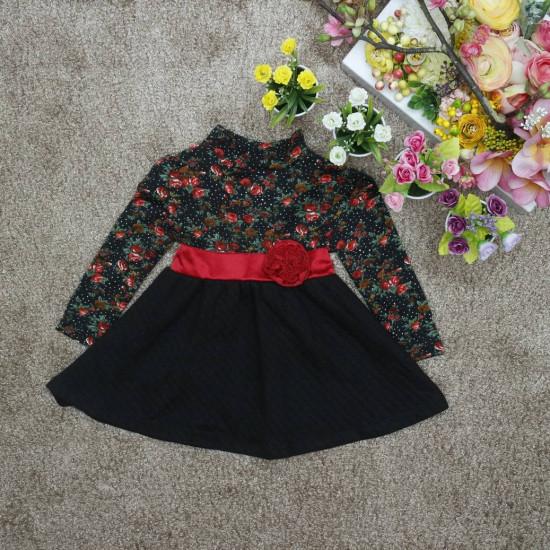 Váy bông trần- V2115-VÁY THU ĐÔNG BÉ GÁI