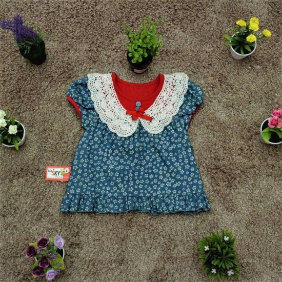 áo cổ ren hoa nhí cotton giả bò- A945-ÁO XUÂN HÈ BÉ GÁI