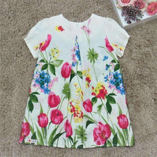 Váy thô cộc tay bé gái - v715104C-VÁY XUÂN HÈ BÉ GÁI