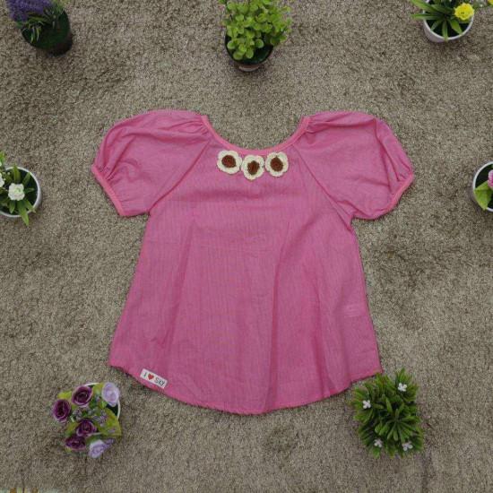 áo boy hồng hoa len- A26175