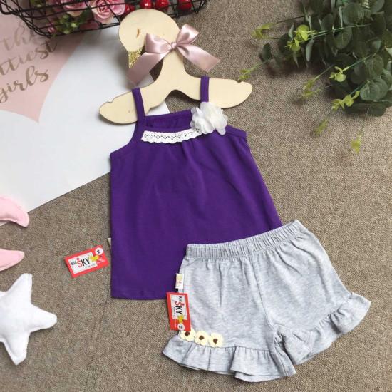 áo 2 dây cotton bé gái nơ ren size 2-6
