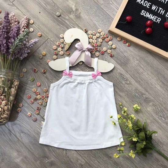 áo 2 dây cotton bé gái xuân hè