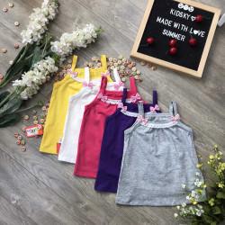 áo 2 dây cotton bé gái xuân hè- A4655-1
