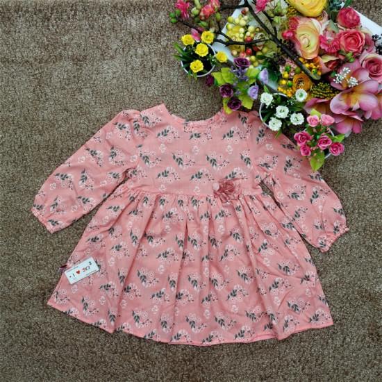 Váy hoa đính bông - V78255-VÁY THU ĐÔNG BÉ GÁI