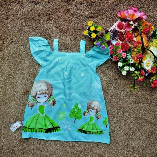 váy 2 dây tay trễ-v7644-