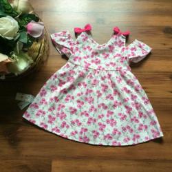Váy hoa bé gái nơ vai size 2-6  - V48275