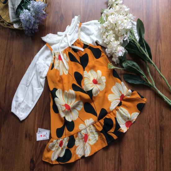 Sét Yếm dài tay hoa thu cho bé
