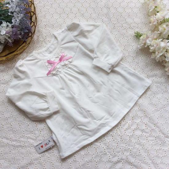 Áo thun cotton ren cổ nơ