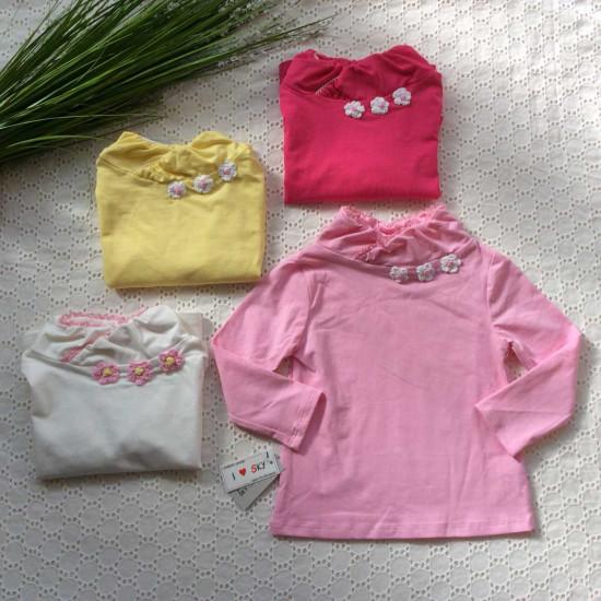 áo cổ lọ điệu 3 hoa bé gái-ÁO THU ĐÔNG BÉ GÁI