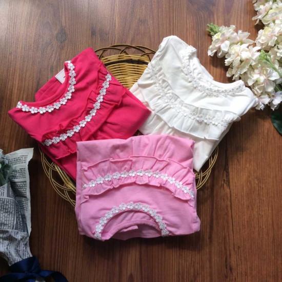 Áo thu cotton hoa nhí vòng cổ-ÁO THU ĐÔNG BÉ GÁI