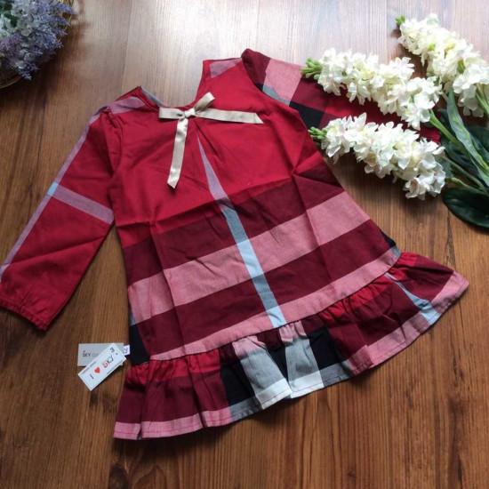 Áo váy thu dài tay kẻ Buberry đuôi cá-