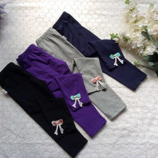 quần legging COTTON nơ gấu-LEGGING THU ĐÔNG BÉ