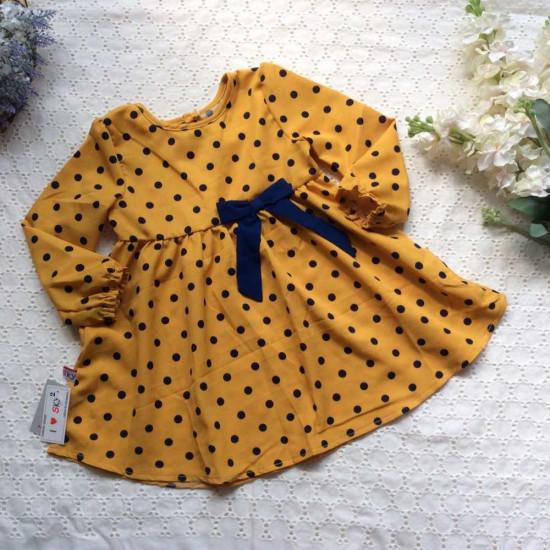 Váy thu chấm bi nơ eo