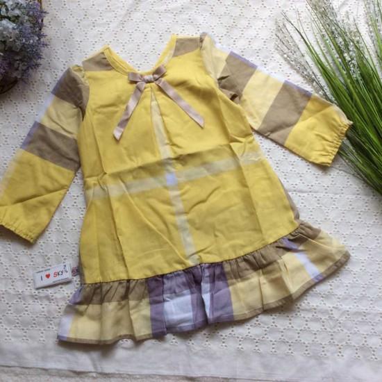 Áo váy thu dài tay kẻ Buberry đuôi cá
