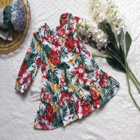 Váy hoa đuôi cá dài tay-