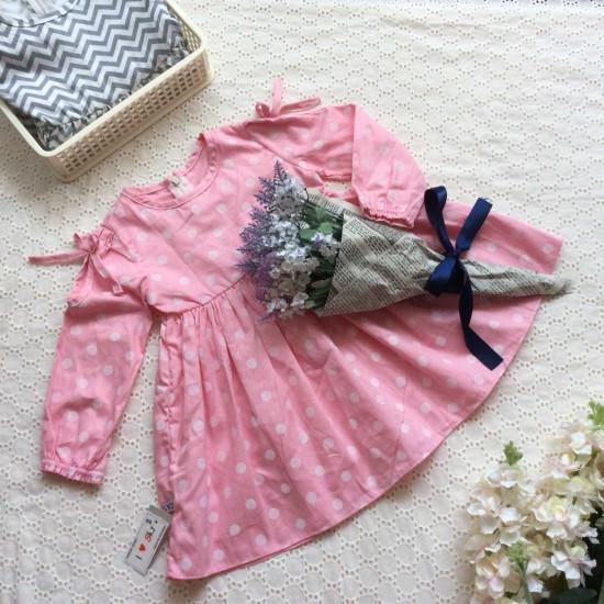 váy thu dài tay bé gái cotton 4 chiều in hình-VÁY THU ĐÔNG BÉ GÁI