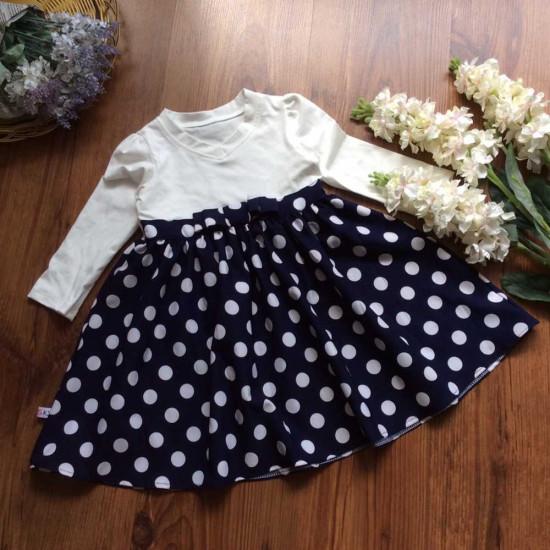 Váy thu dài tay chân chấm bi-VÁY THU ĐÔNG BÉ GÁI