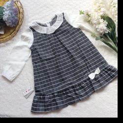 váy thu kẻ tay trắng size 3-7
