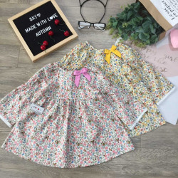 Áo váy hoa cổ nơ thu đông bé gái