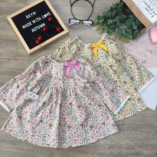 Áo váy hoa cổ nơ thu đông bé gái-VÁY THU ĐÔNG BÉ GÁI