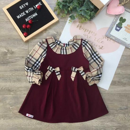 Váy thu tay kẻ burberry size 4-8-VÁY THU ĐÔNG BÉ GÁI