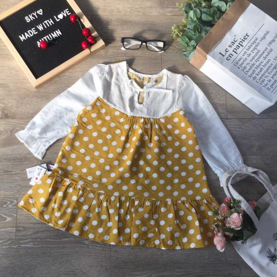Áo váy thu đông bé gái thân chấm bi