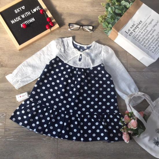 Áo váy thu đông bé gái thân chấm bi-VÁY THU ĐÔNG BÉ GÁI