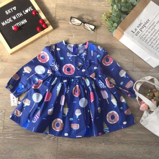 váy thu dài tay hoa cổ vạt chéo-VÁY THU ĐÔNG BÉ GÁI