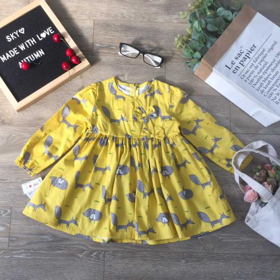 váy thu dài tay hoa cổ vạt chéo