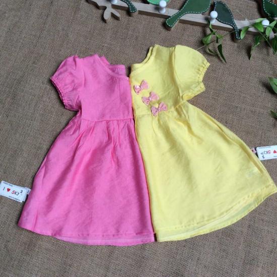 Áo váy hè bé gái nơ ngực