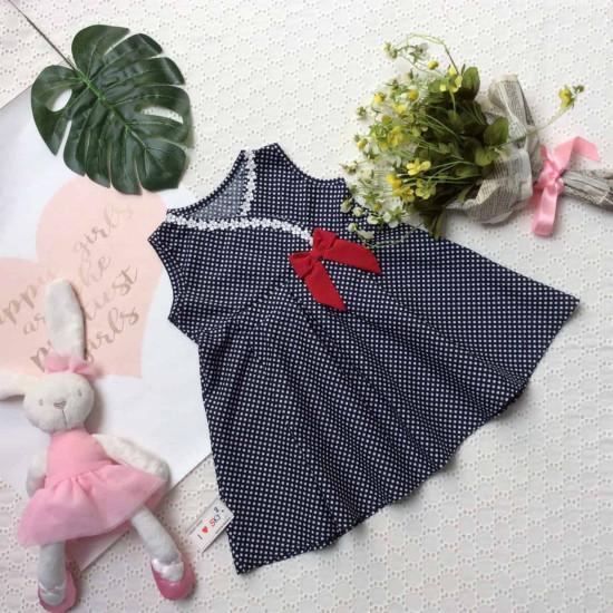Váy chấm bi cổ chéo ren hoa nơ ngực -VC29205-