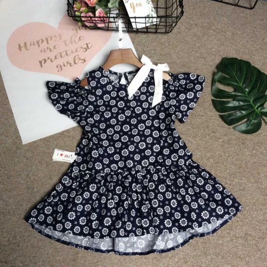 váy hoa đuôi cá nơ vai - v39145