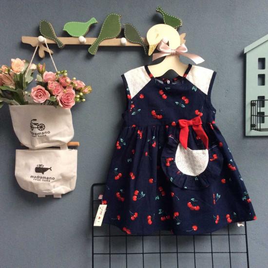 Váy ren vai túi ren in hình quả dâu - v39135