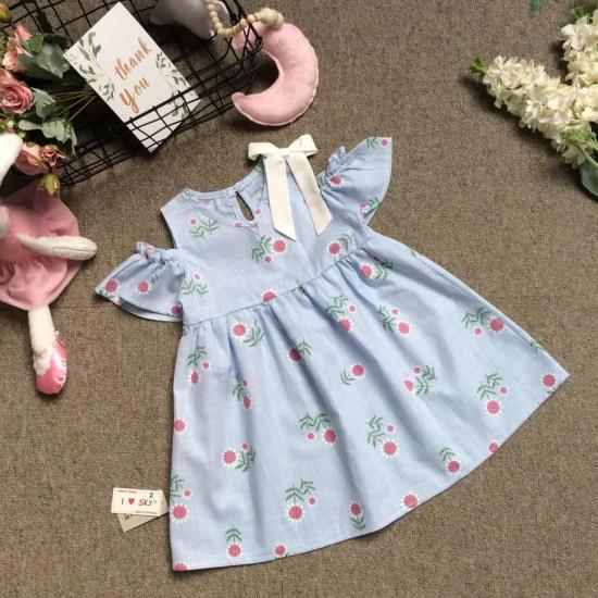 Váy thô hoa tay trễ eo xòe size 2-6