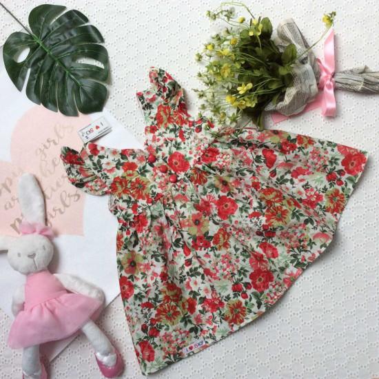 Váy tay tiên cúc bọc khóa kéo sau size 2-6-VÁY XUÂN HÈ BÉ GÁI