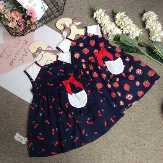Váy vai ren bé gái xuân hè - size 2-6-VÁY XUÂN HÈ BÉ GÁI