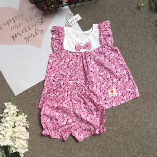 bán sỉ bộ thô hoa bé gái quần sooc size 2-6 - đại lý phân phối hãng KIDSKY