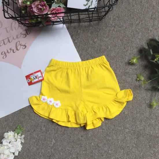 quần đùi cotton bèo gấu 3 hoa bé gái size 2-8