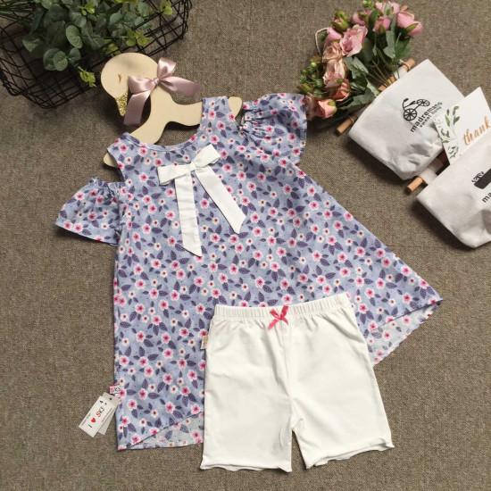 Áo váy dáng A tay trễ hoa size 4-8