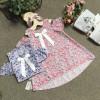 Áo váy dáng A tay trễ hoa size 4-8-
