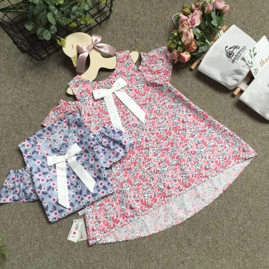 Áo váy dáng A tay trễ hoa size 4-8-VÁY XUÂN HÈ BÉ GÁI